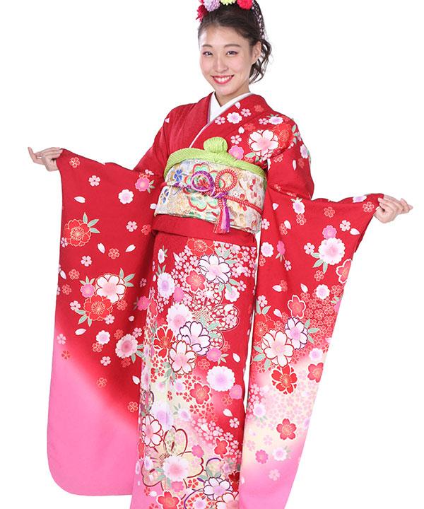 振袖|赤にピンクぼかし桜|F0189 LL