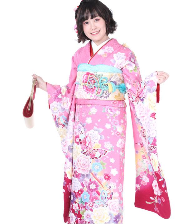 振袖|ピンクに赤ぼかし蝶牡丹|F0190 S