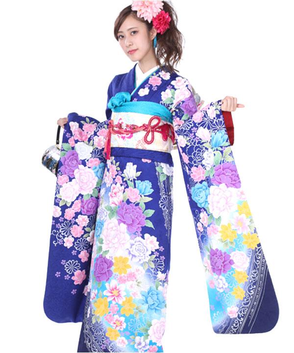 振袖 青に薔薇牡丹 F0192 L