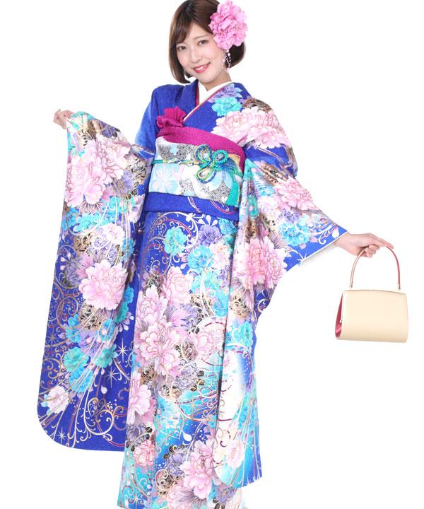 振袖|青にピンク牡丹|F0197 M