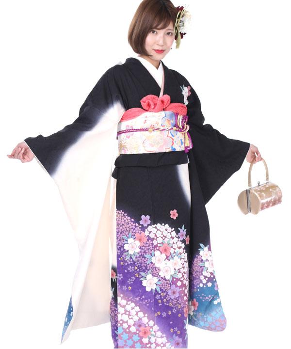 振袖|黒に白紫桜|F0202 M