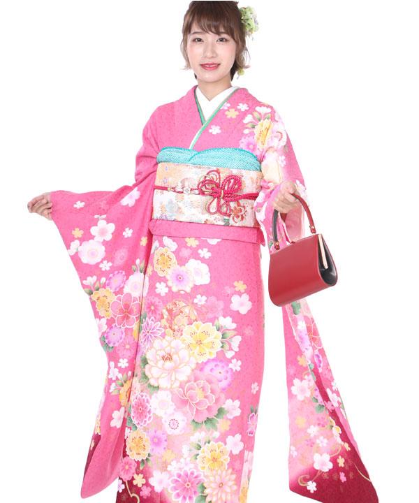 振袖 ピンクに鞠菊牡丹桜 F0208 LL