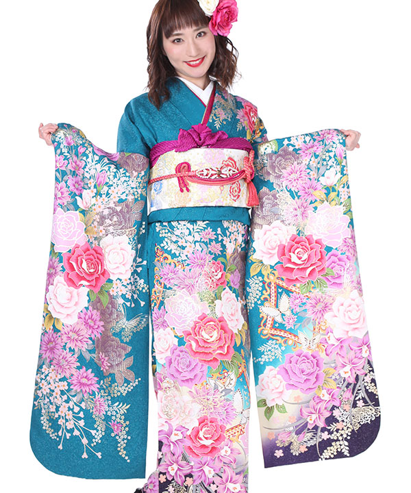 振袖|青緑にぼかし薔薇蝶菱|F0215 L