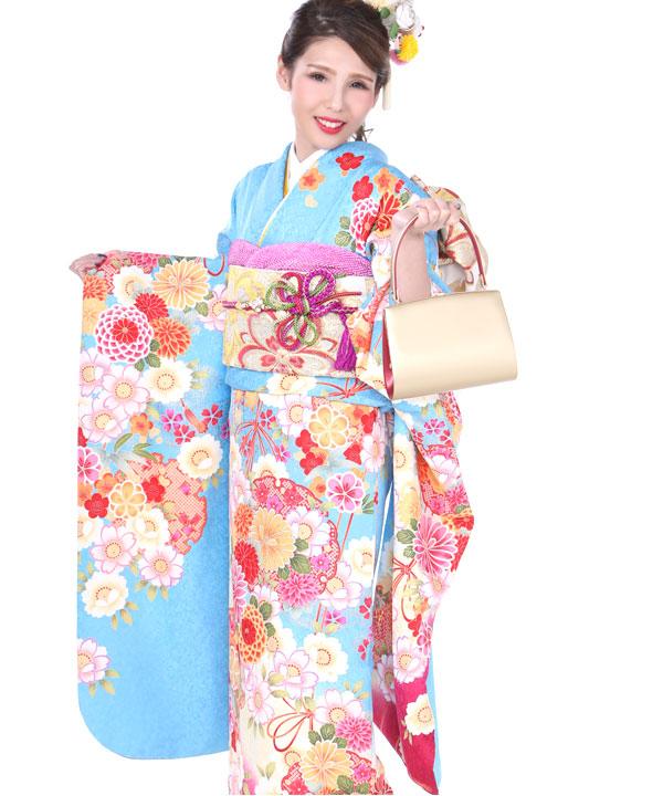 振袖|水色に雪輪丸菊桜|F0218 S|ヒップ92cmまで