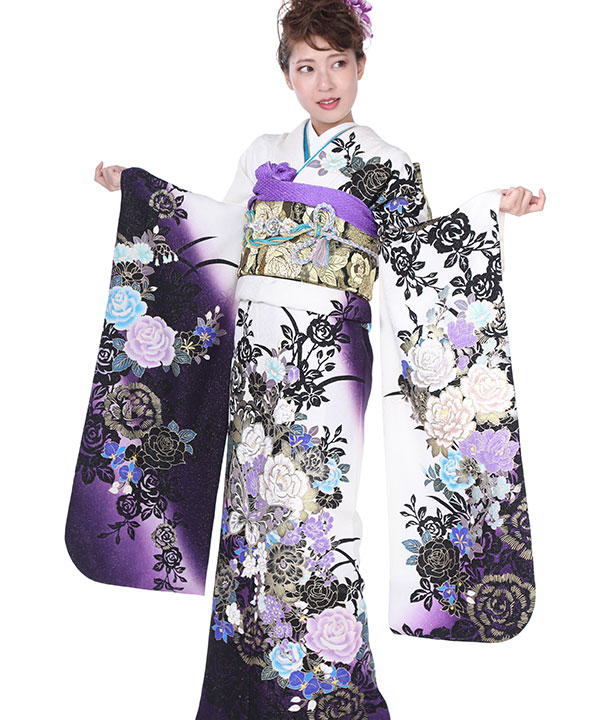 振袖|白地に濃紫ぼかし薔薇蝶|F0219 S