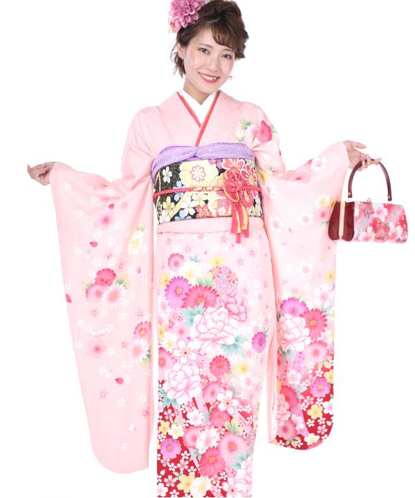 振袖 薄ピンクに桜鞠 F0227 SS