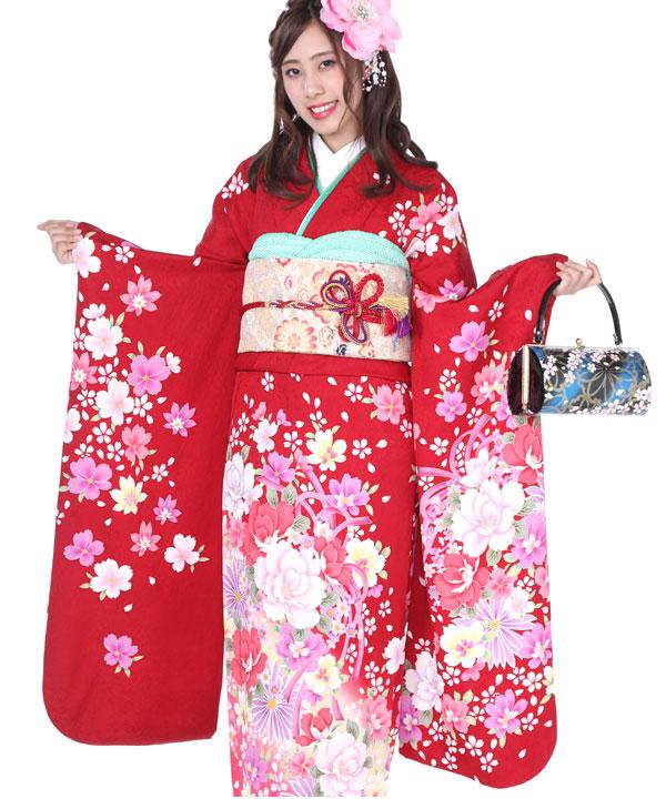 振袖 赤に舞桜 F0232 S