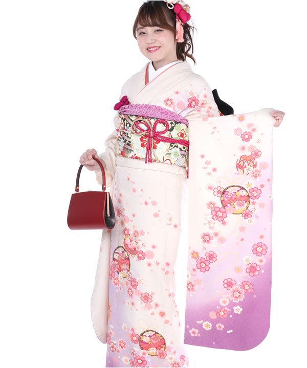 振袖|白地に桃グラデ桜鞠|F0237 S