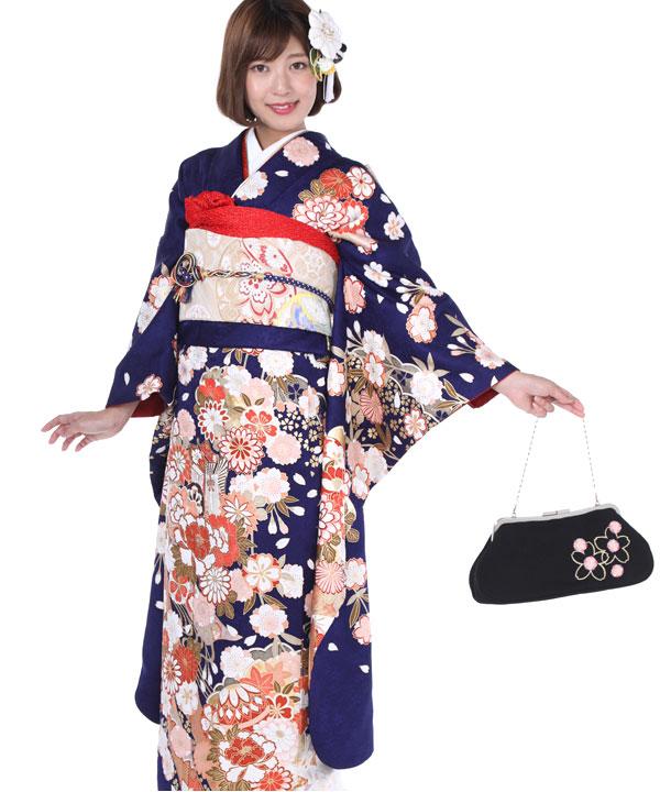 振袖|青紺に熨斗雲取り桜|F0238 M
