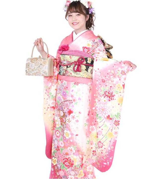 振袖 桃色に桜菊 F0239 S