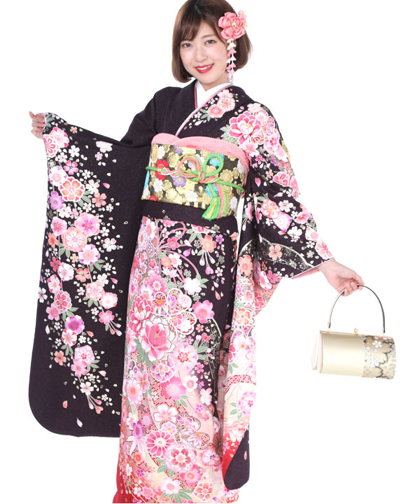振袖|黒にピンク牡丹鞠熨斗|F0241 M