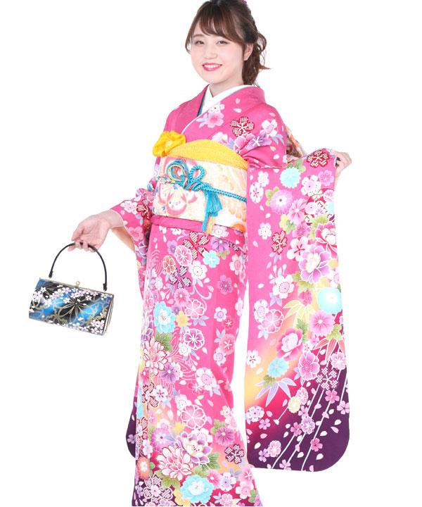 振袖|ピンクに紫ぼかし桜牡丹|F0244 M