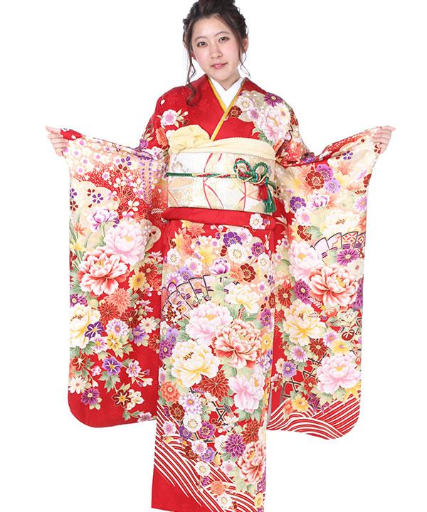 振袖|赤に扇花籠菊牡丹|F0245 SS