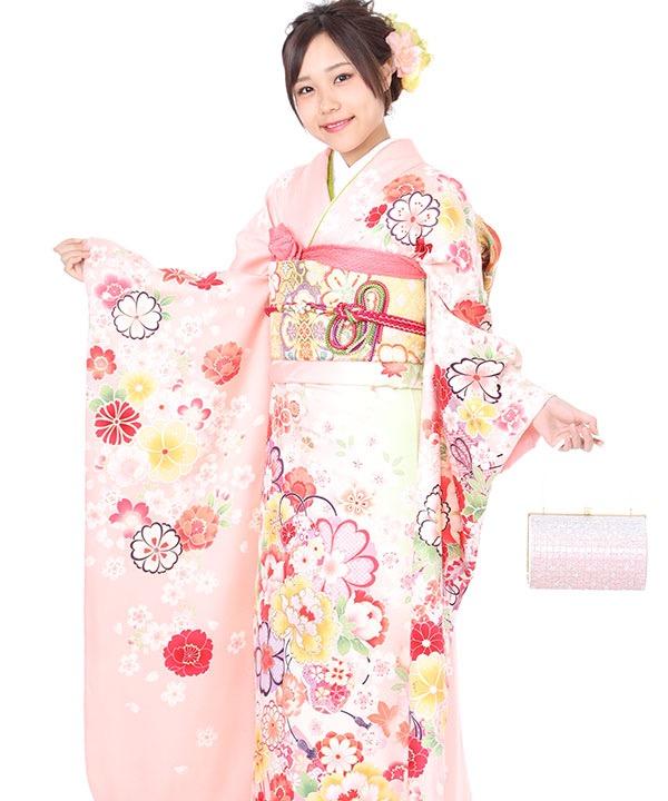 振袖|ピンク地に牡丹に八重桜と藤|F0265|LL