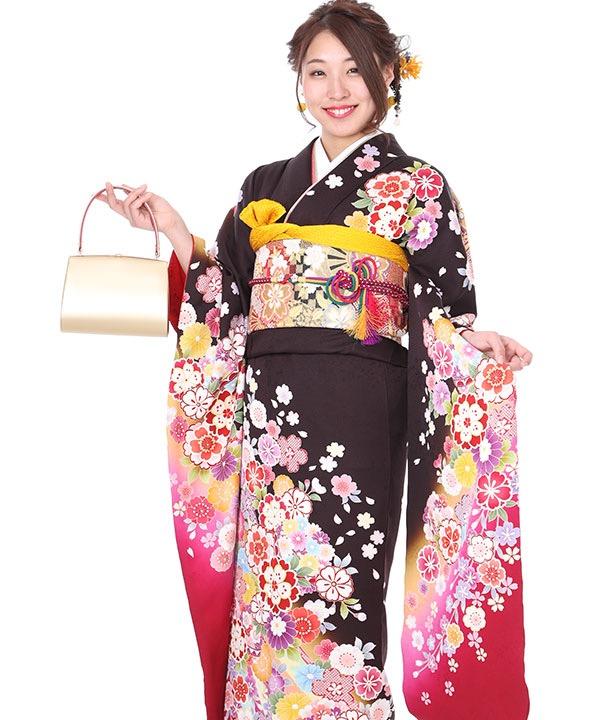 振袖|茶色地に八重桜と熨斗目|F0266|M