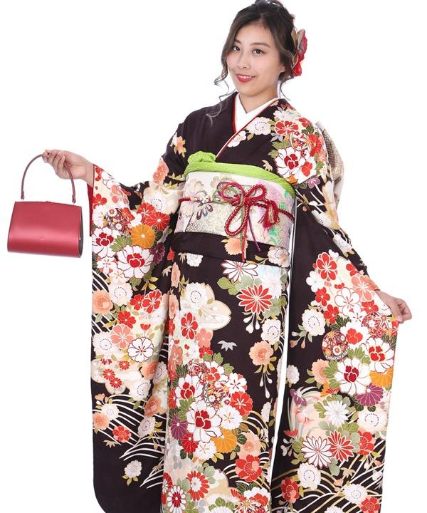 振袖|茶色地に牡丹に菊鞠桜|F0274|3L