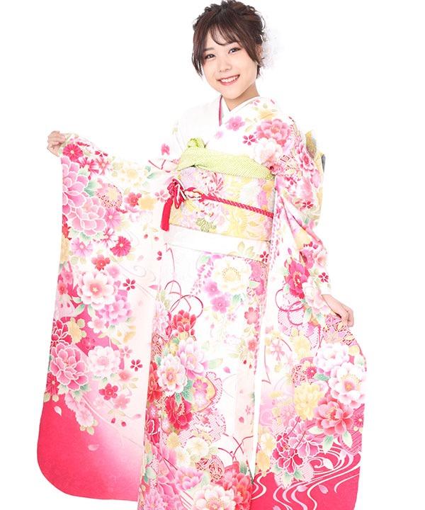 振袖 白地にピンクのグラデーションに牡丹や桜に手毬 F0296 L