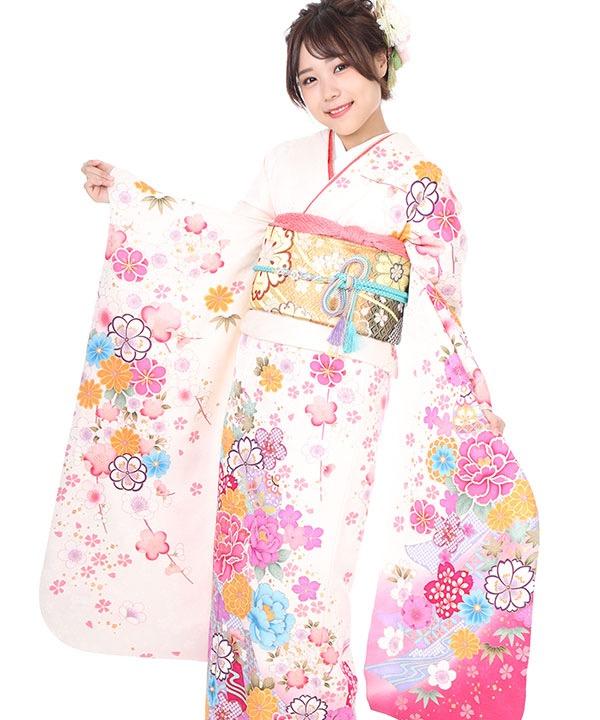 振袖|白地にピンクグラデーション 牡丹に桜と梅鈴|F0305|S