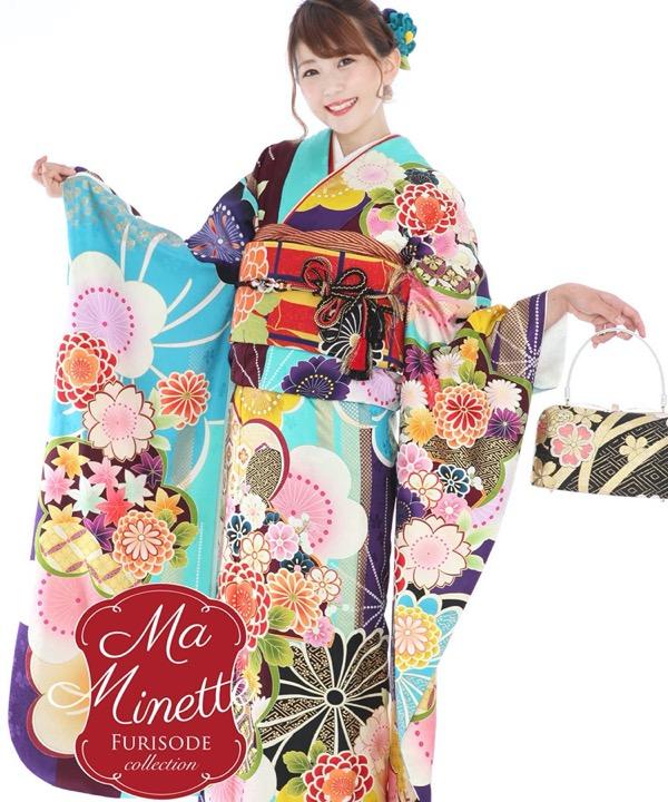 ブランド振袖レンタル Ma Minette 水色モダン花々