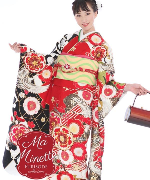 振袖|Ma Minette 赤と黒の飛翔鶴と桜|F0311 L