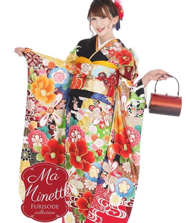 ブランド振袖レンタル - Ma Minette 黒地に牡丹菊|F0312 L