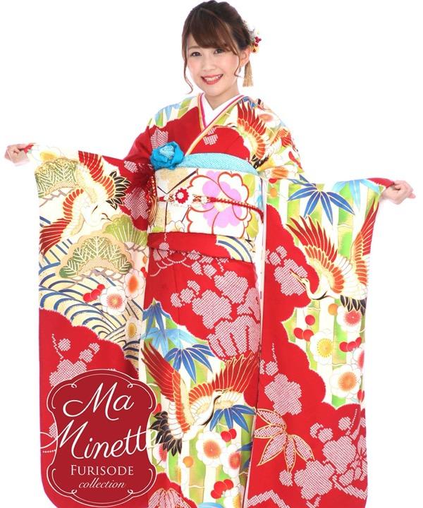 ブランド振袖レンタル|Ma Minette 赤に松竹梅と鶴