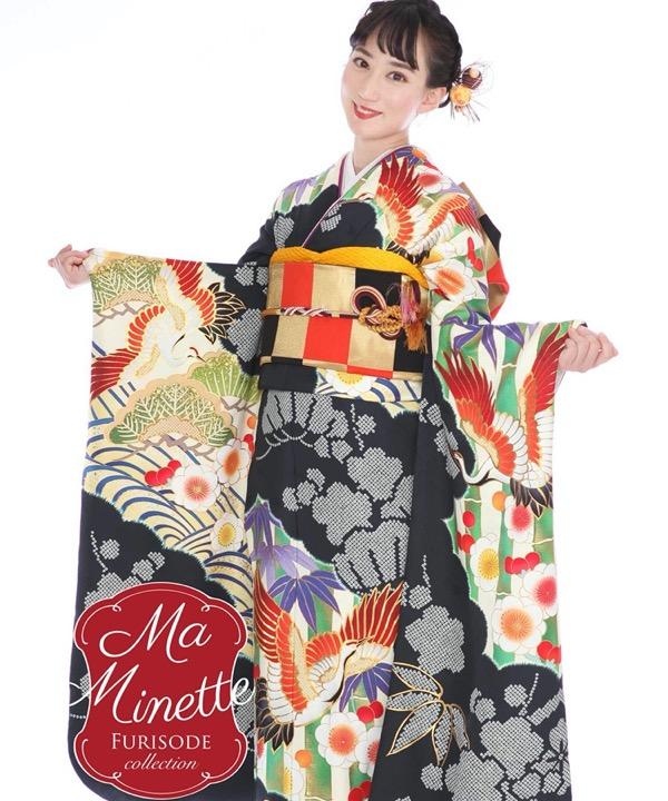 ブランド振袖レンタル - Ma Minette 濃紺に松竹梅と鶴|F0314 L