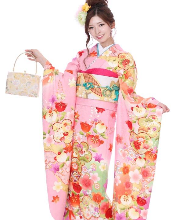 振袖 ピンク地に橘と笹と楓の花々 F0318 L