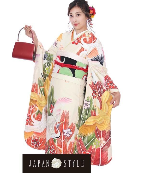 ブランド振袖レンタル - JAPAN(Sサイズ)TYLE 大王松と鶴|F0324(Lサイズ)