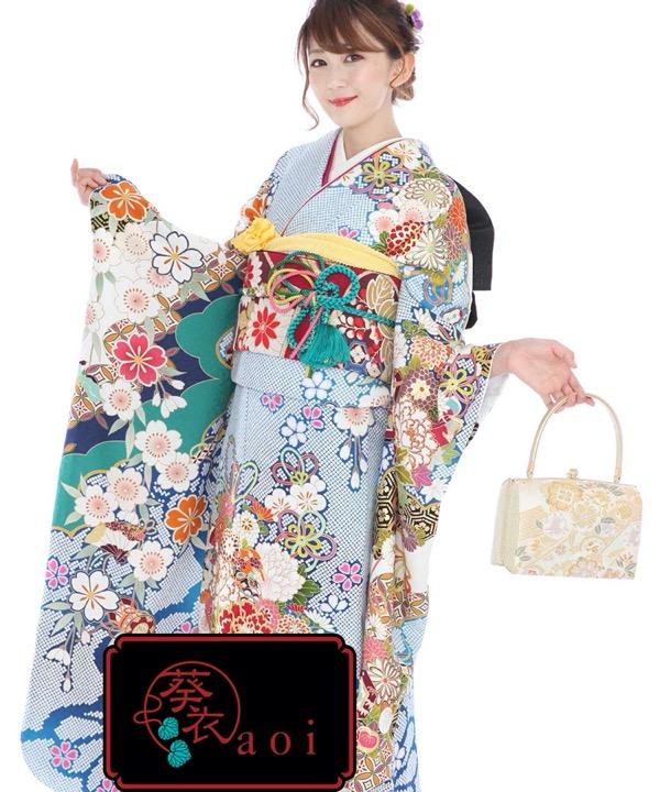 ブランド振袖レンタル - aoi 葵衣126「疋田花くす玉」 F0325 L