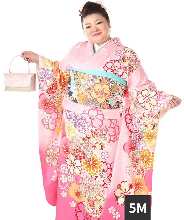 振袖レンタル 大きいワイドサイズ ヒップ110まで 桃色に桜