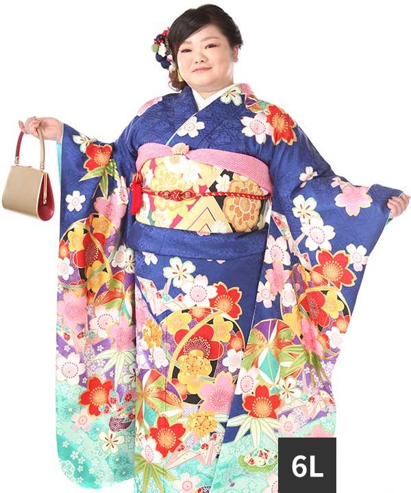 振袖レンタル 大きいワイドサイズ ヒップ120まで 紺地に折り鶴と毬