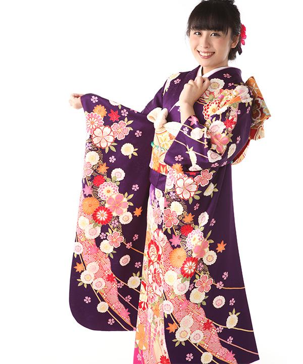 振袖レンタル 紫に熨斗 F0369