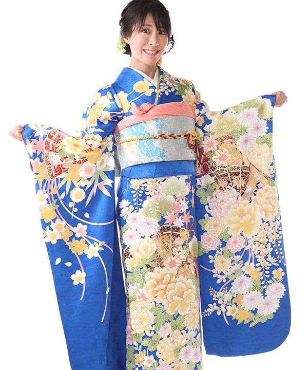 振袖レンタル 青に檜扇と牡丹と菊