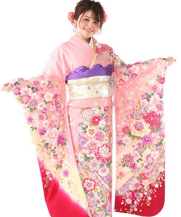 振袖|ピンクの熨斗桜|F0411|L