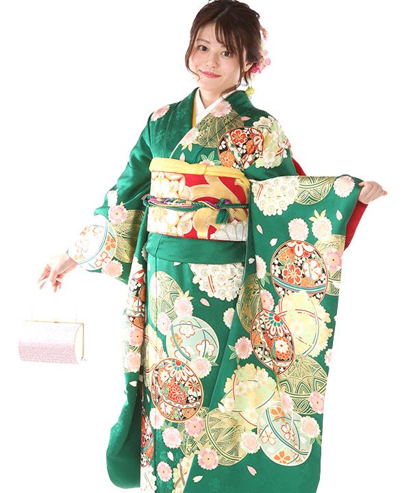 振袖レンタル|緑に毬桜|F0419