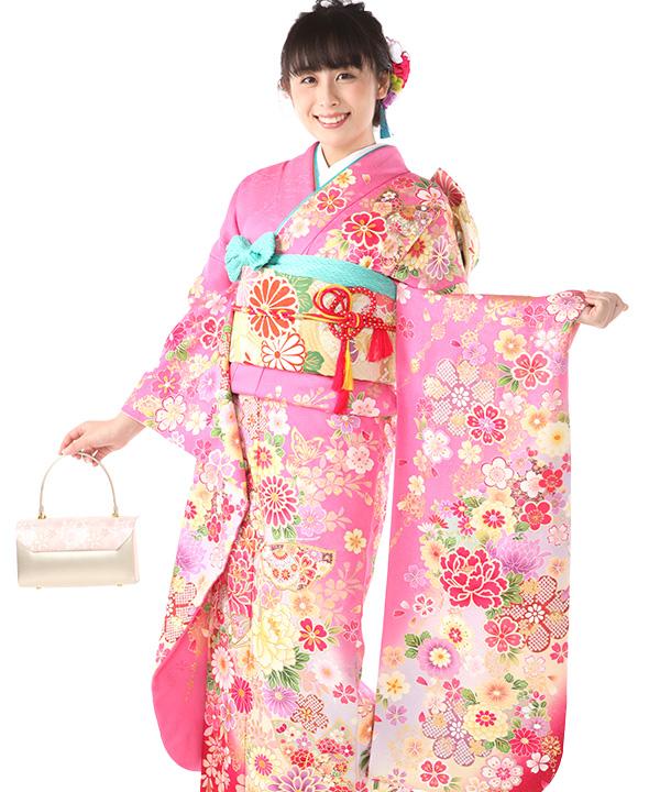 振袖レンタル|ピンクの花爛漫|F0421