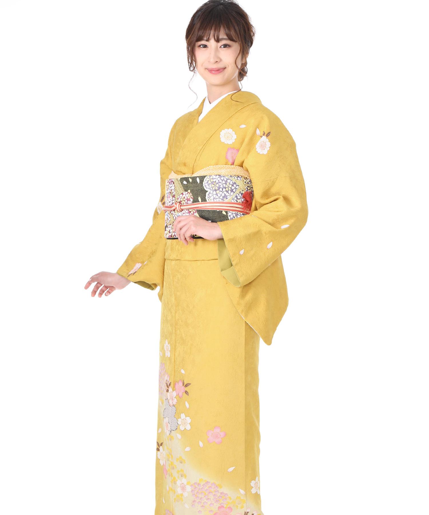 訪問着レンタル 黄色に桜