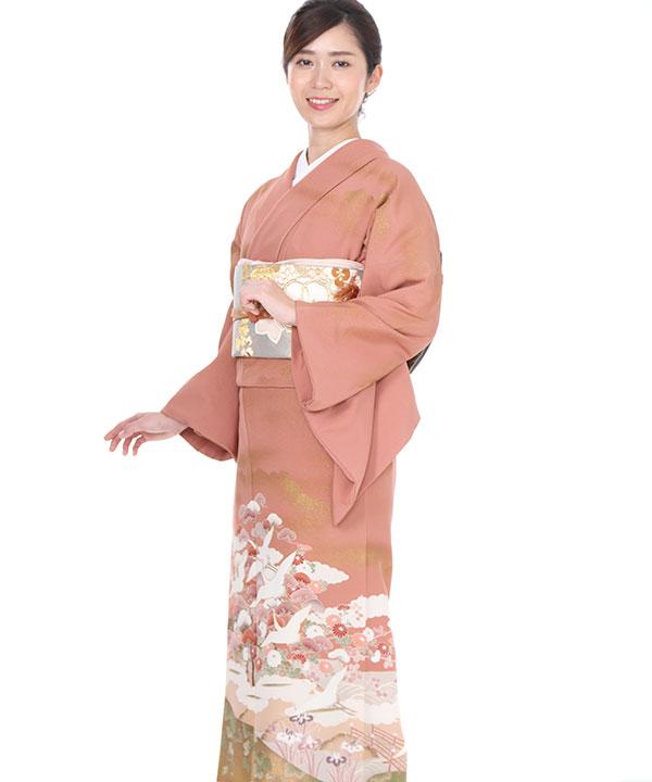 訪問着  ピンクに鶴松菊   H0039   L
