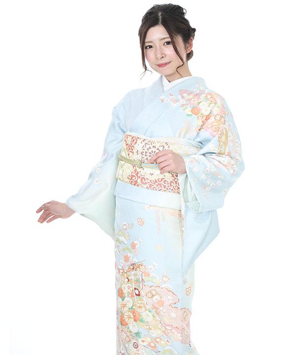 《SALE ¥19800→¥17800》訪問着| 水色に熨斗と花模様 | H0067 | M
