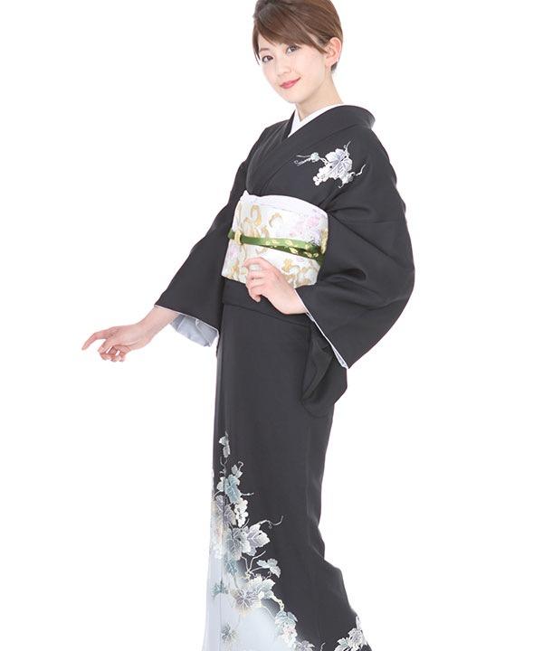 《SALE ¥29800→¥24900》訪問着| 和田光正 黒に葡萄蔦 |H0088 | L