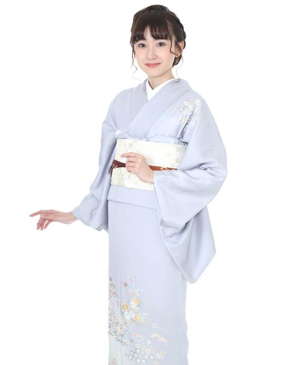訪問着|和田光正 水色に菊と松|H0089|M