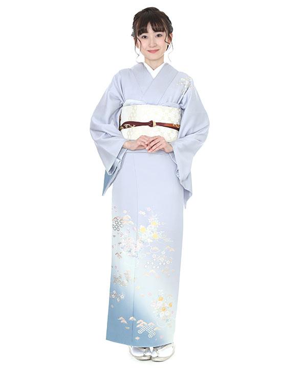 訪問着レンタル|和田光正 水色に菊と松