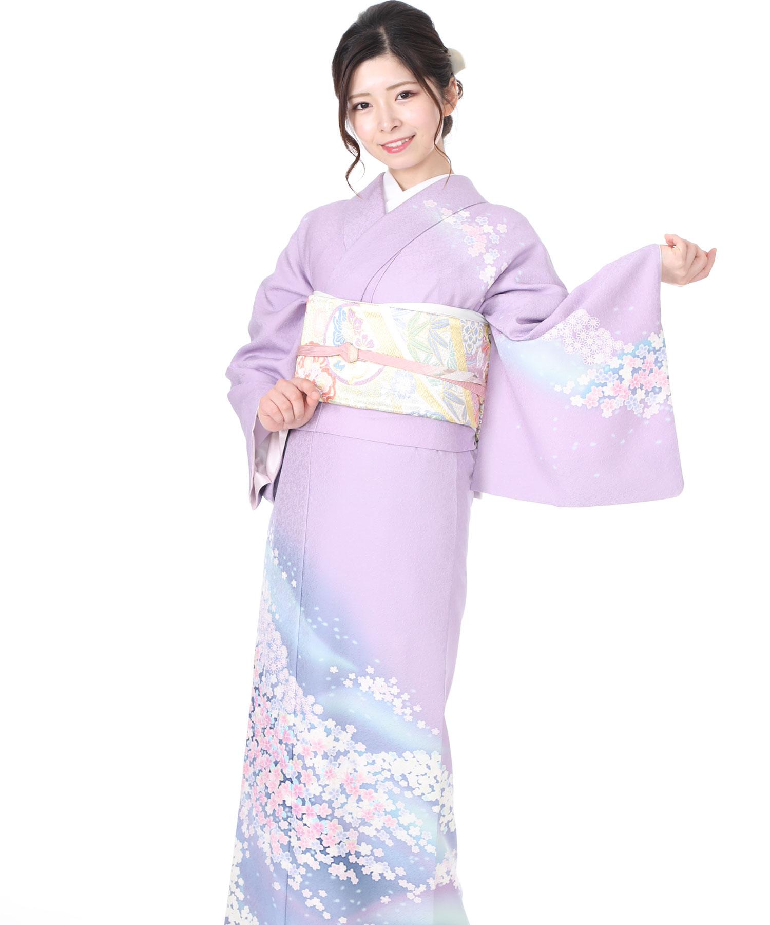 訪問着レンタル 薄い紫に紺色ぼかし桜小花