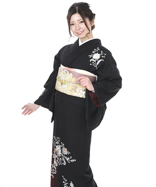 訪問着 | 和田光正 黒地に赤紫ぼかし金彩唐花 | H0136 | L