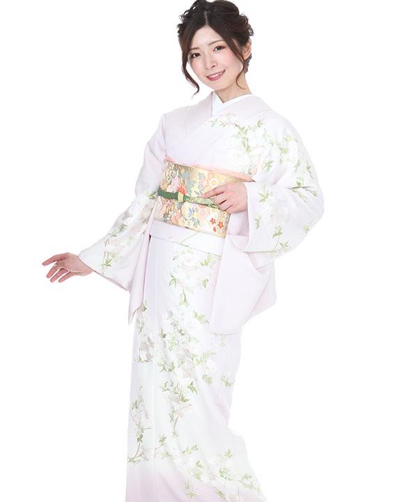 訪問着   刺繍淡桃に花柄総刺繍   H0141   M