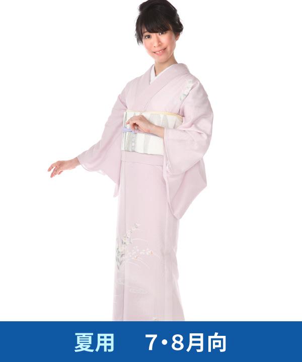 【夏用・7・8月向け】訪問着(絽)|ピンク色に秋の草花と流水|H0215|M