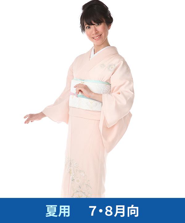 【夏用・7・8月向け】訪問着(絽)|淡いピンク色に唐花文様|H0226|M