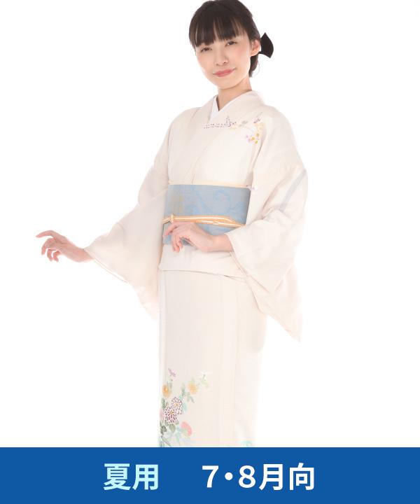 【夏用・7・8月向け】訪問着(絽)|薄ピンクに菊と萩|H0251|L