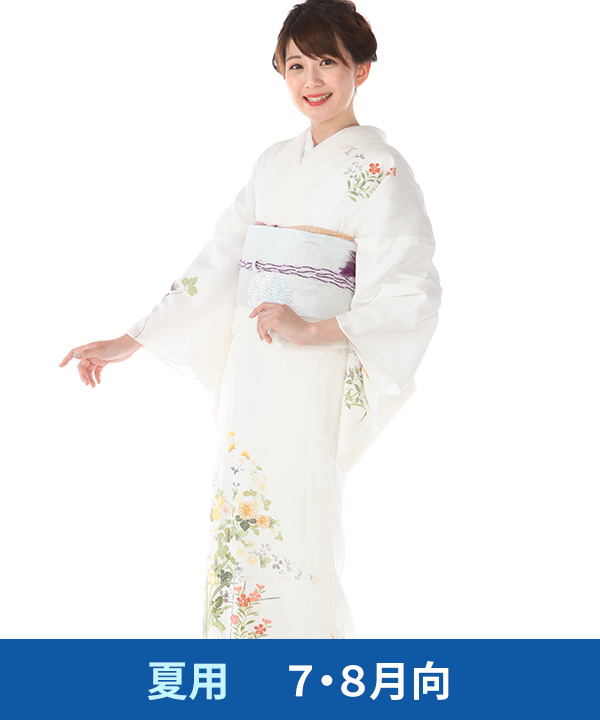【夏用・7・8月向け】訪問着(絽)|白地に秋草|H0253|L